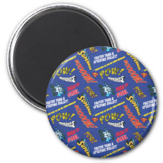 Blue and Red Pow! 6 Cm Round Magnet