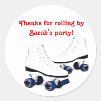 Blue and Red Roller Skate Birthday Sticker