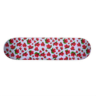 Blue and Red Rose Pattern Girly Girl skateboard