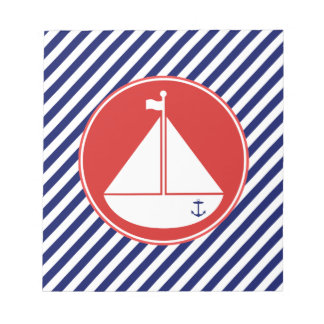 Blue and Red Sailboat Notepad