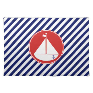 Blue and Red Sailboat Placemat