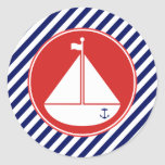Blue and Red Sailboat Round Stickers
