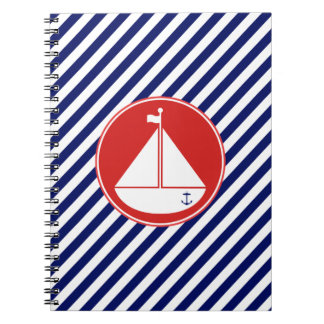 Blue and Red Sailboat Spiral Notebook