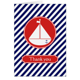 Blue and Red Sailboat Thank You Card