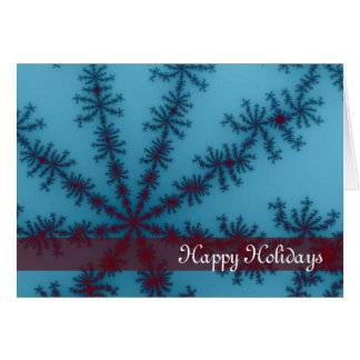 Blue and Red Snowflake Happy Holidays Card