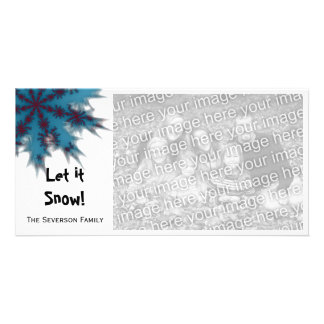 Blue and Red Snowflake Let it Snow Card