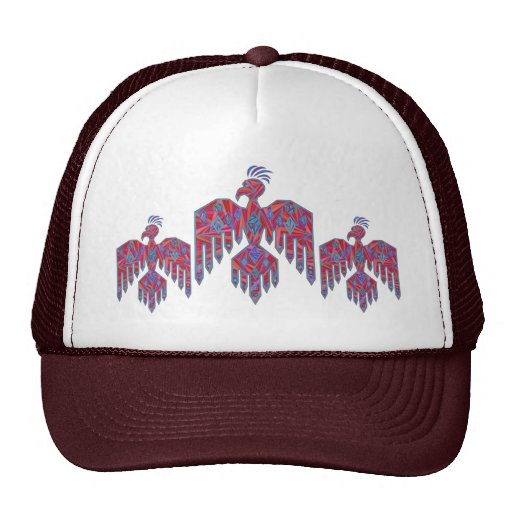 Blue And Red Southwestern Art Thunderbird Cap Hats