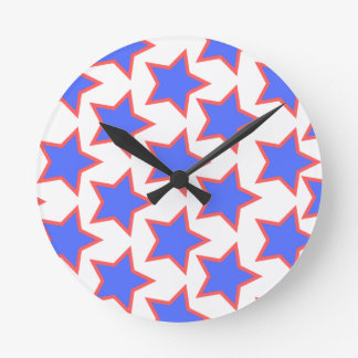 Blue and Red Stars Clock