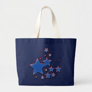BLUE AND RED STARS JUMBO TOTE BAG