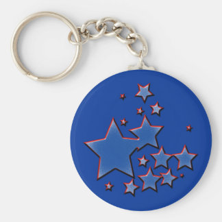 BLUE AND RED STARS KEY CHAINS