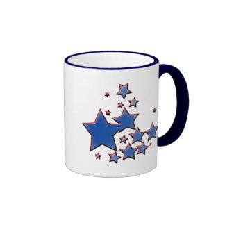 BLUE AND RED STARS RINGER MUG