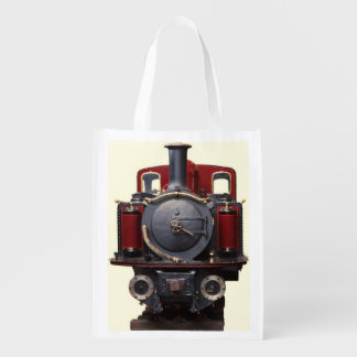 Blue And Red Train Reusable Grocery Bag