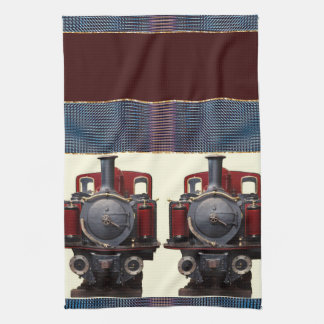 Blue And Red Train Tea Towel