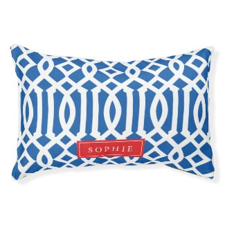 Blue and Red Trellis Monogram Pet Bed