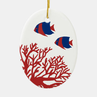 Blue and Red Tropical Coral and Angelfish Christmas Ornament