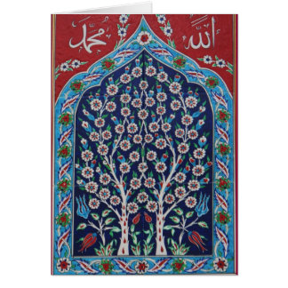 Blue and Red Turkish tiles TREE OF LIFE Card