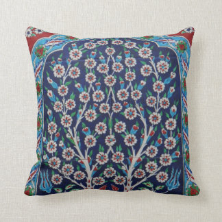 Blue and Red Turkish tiles TREE OF LIFE Cushion