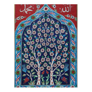 Blue and Red Turkish tiles TREE OF LIFE Postcard