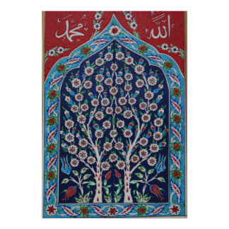 Blue and Red Turkish tiles TREE OF LIFE Poster