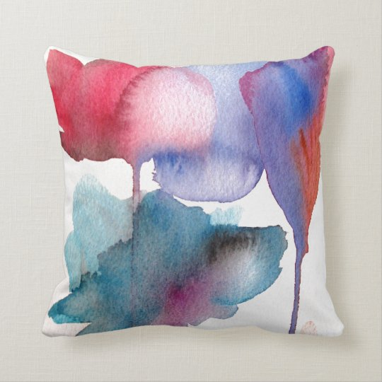 Blue and red watercolour floral large flowers cushion