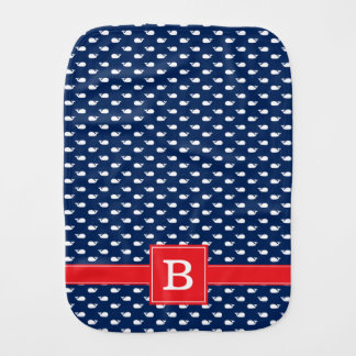 Blue and Red Whimsical Whales Pattern Monogram Burp Cloth