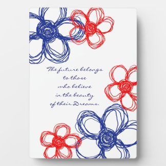 Blue and Red Wild Flowers Plaque