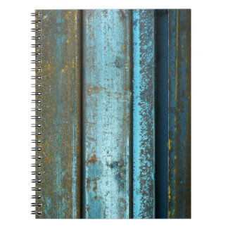 Blue and rust rugged weathered rusted metal notebook