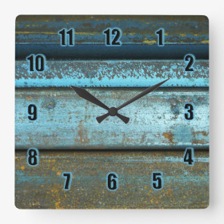 Blue and rust rugged weathered rusted metal square wall clock