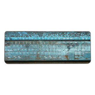 Blue and rust rugged weathered rusted metal wireless keyboard