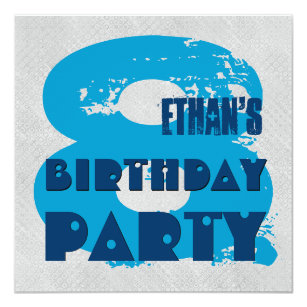 BLUE And SILVER 8th Birthday Party 8 Year Old V11G Invitation