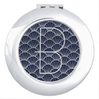 Blue and Silver Art Deco Fans with Monogram Travel Mirror