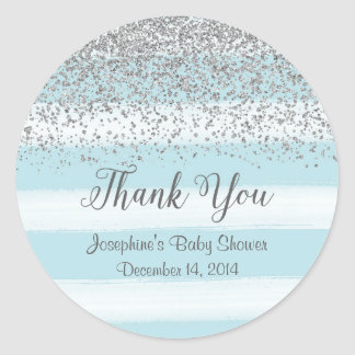 Blue and Silver Baby Shower Stickers