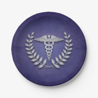 Blue and Silver Caduceus Medical Graduation 7 Inch Paper Plate