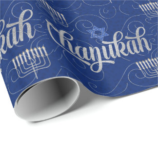 Blue and Silver Chanukah with Swirls Star of David Wrapping Paper
