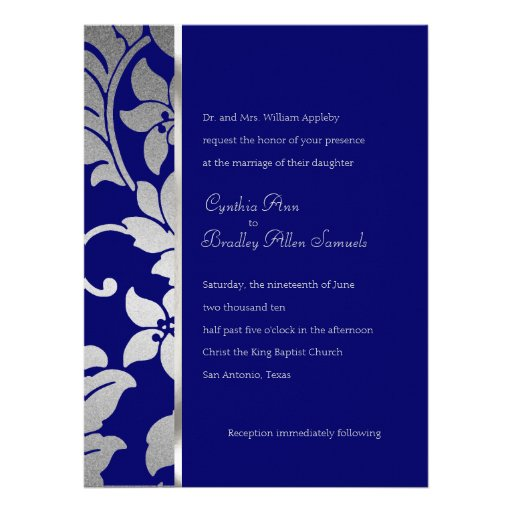 Blue and Silver Damask Custom Invites