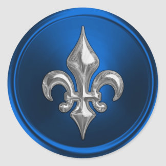 Blue and Silver Fleur de Lis Envelope Seal Round Sticker