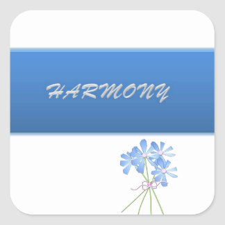 Blue And Silver Floral Harmony Square Stickers