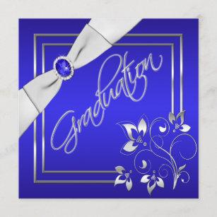 Blue and Silver Floral Photo Graduation Invitation