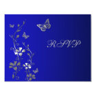 Blue and Silver Floral with Butterflies Reply Card