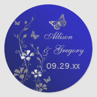 Blue and Silver Floral with Butterflies Sticker