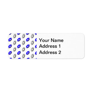 Blue and Silver Football Pattern Return Address Label