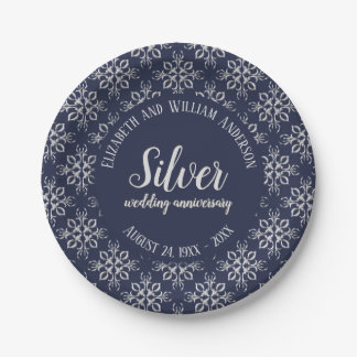 Blue and Silver Gray 25th Anniversary Paper Plate