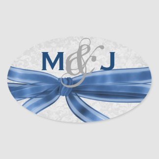 Blue and Silver Gray Damask Bride Groom Wedding Oval Sticker