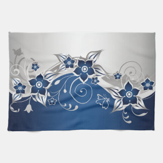 Blue and Silver Gray Floral Kitchen Towel