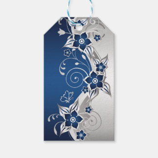 Blue and Silver Gray Floral Pack Of Gift Tags