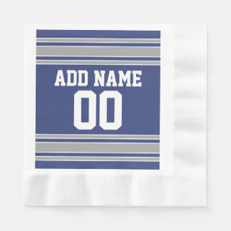 Blue and Silver Jersey Stripes Custom Name Number Disposable Napkins