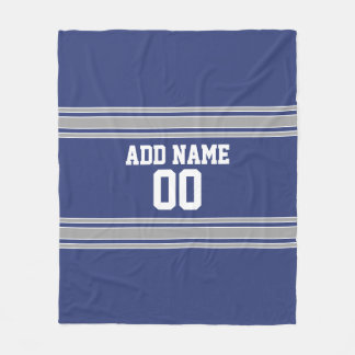 Blue and Silver Jersey Stripes Custom Name Number Fleece Blanket