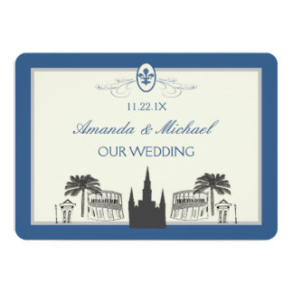 Blue and Silver New Orleans Scenes Save the Date Invite