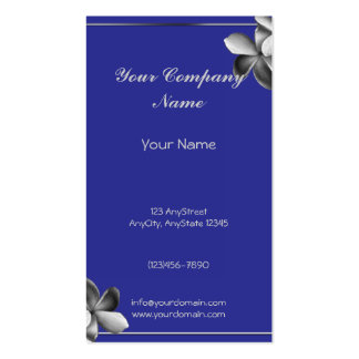 Blue and Silver Plumeria Double-Sided Standard Business Cards (Pack Of 100)