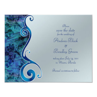 Blue and Silver Reflections Save the Date Card